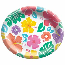 """Summer Hibiscus Oval Plates, 12"""" , 20ct"""