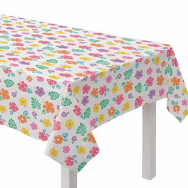 Summer Hibiscus Flannel-Backed Vinyl Tablecover