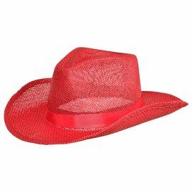 Straw Cowboy Hat - Red
