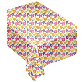 """Hibiscus White Plastic Tablecover, 54"""" x 96"""""""