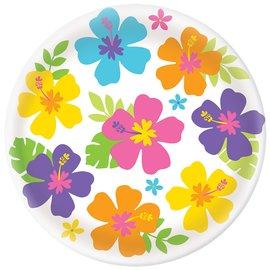 """Hibiscus White Round Platter, 13.5"""""""