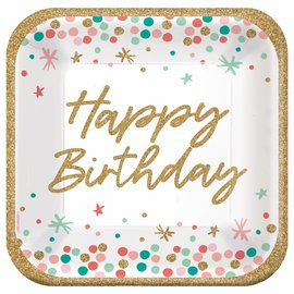 "Wish Big Birthday 9"" Square Plates - 18ct"