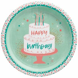 "Happy Cake Day 10 1/2"" Plate -8ct"