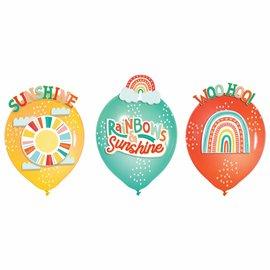 Retro Rainbow Latex Balloon Decoration Kit -6ct