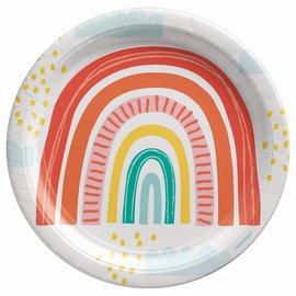 "Retro Rainbow 9"" Round Plates -8ct"