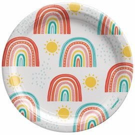 "Retro Rainbow 7"" Round Plates -8ct"