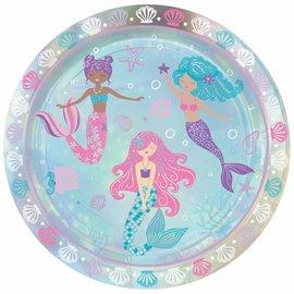 "Shimmering Mermaids 9"" Iridescent Round Plates -8ct"
