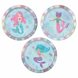 """Shimmering Mermaids 7"""" Assorted Iridescent Round Plates -8ct"""