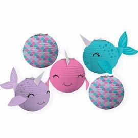 Shimmering Mermaids Mini Narwhal Lanterns -5ct
