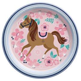 "Saddle Up 7"" Round Plate -8ct"