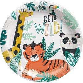 """Get Wild Birthday 9"""" Round Plates -8ct"""