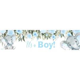 It's a Boy Baby Elephant Banner