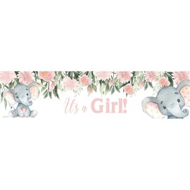 It's a Girl Baby Elephant Banner