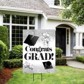 Congrats Grad White and Silver Yard Sign