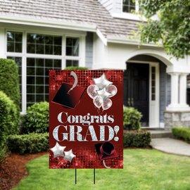 Congrats Grad Red Yard Sign