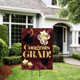 Congrats Grad Burgundy Yard Sign