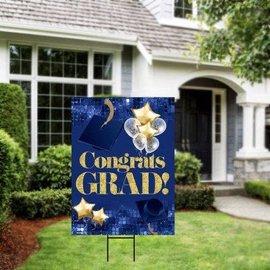 Congrats Grad Blue Yard Sign