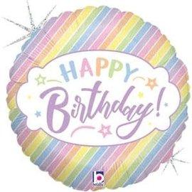 "Pastel Birthday Holographic Balloon - 18"""