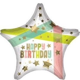 """Happy Birthday Gold Stars And Colors Star Balloon -18"""""""