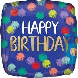 "Brushed Happy Birthday Balloon - 18"""