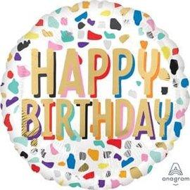 "Happy Confetti Birthday Balloon - 18"""