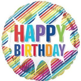 "Happy Birthday Striped Burst Balloon - 28"""