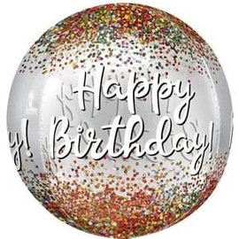 """Happy Birthday Sequins Clear Orbz - 15"""""""