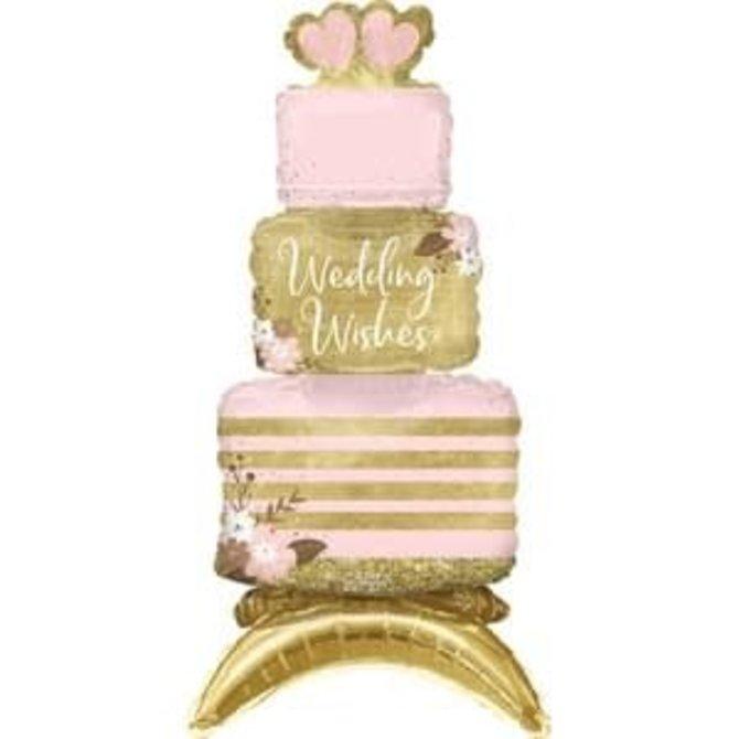 """Air Filled Sitting  Wedding Cake Balloon  - 18"""""""