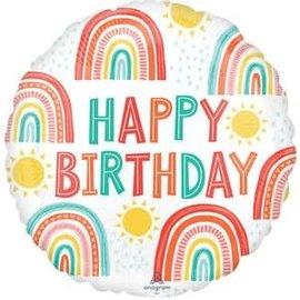 """Retro Rainbow Birthday Balloon - 18"""""""