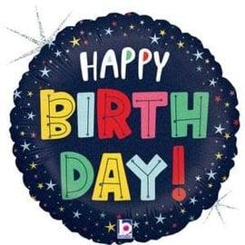 "Birthday Colorful Stars Holographic Balloon -18"""
