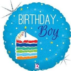 "Birthday Cake Boy Holographic Balloon - 18"""