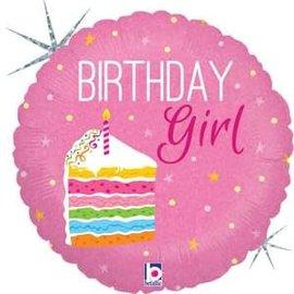 "Birthday Cake Girl Holographic Balloon - 18"""