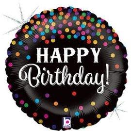"Glittering Birthday Confetti Glitter Holographic Balloon - 18"""