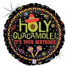 "Holy Guacamole Birthday Holographic Balloon - 18"""