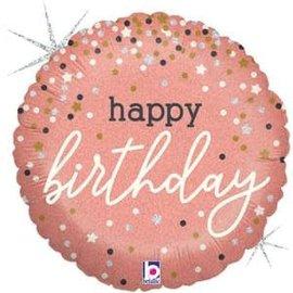 "Rose Gold Confetti Birthday Holographic Balloon - 18"""