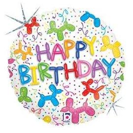 "Balloon Dog Birthday Holographic Balloon -18"""