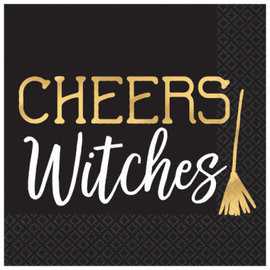Cheers Witches Beverage Napkins Hot Stamped 16ct.