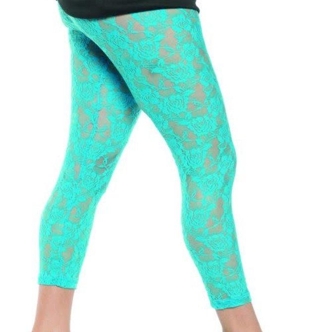 80's Lace Leggings - Neon Blue