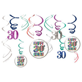 Here's To 30 Value Pack Swirl Decoration