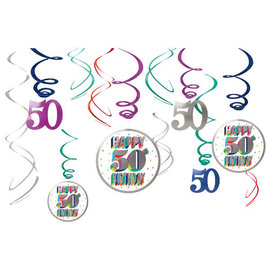 Here's To 50 Value Pack Swirl Decoration