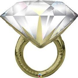 "Diamond Wedding Ring Foil Balloon, 37"""