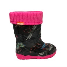 Alisa Alisa Lined Rainboot Black Butterflies