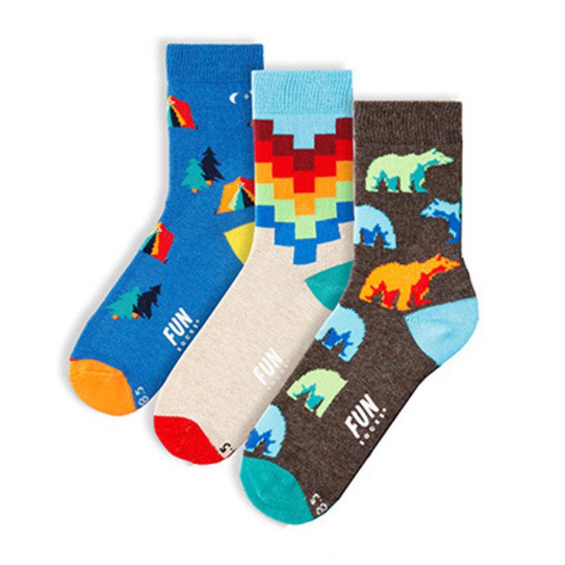 Fun Socks Fun Socks 3PK Bear Crew