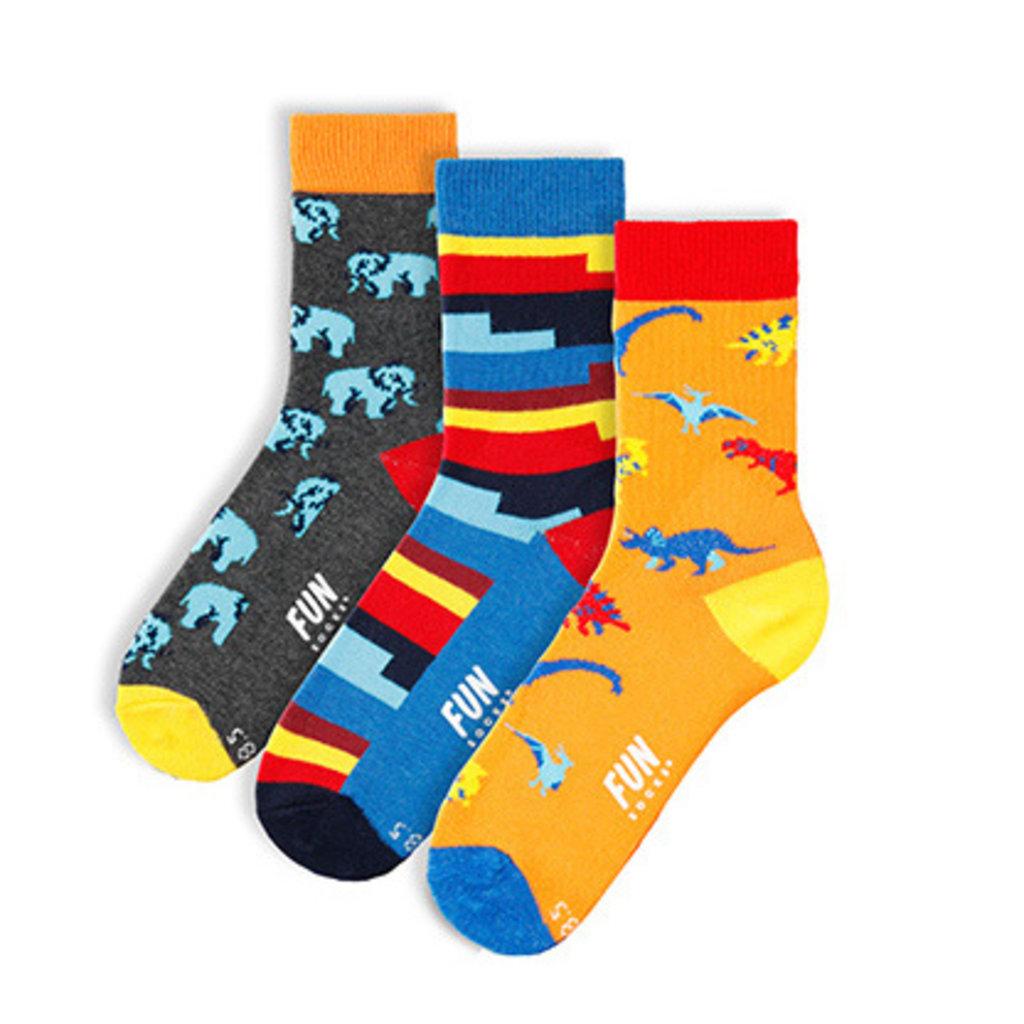 Fun Socks Fun Socks 3PK Dinosaur Crew