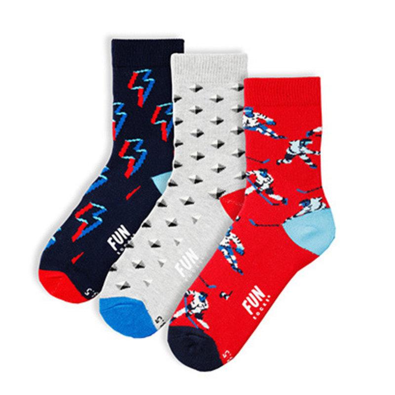Fun Socks Fun Socks 3PK Hockey Crew