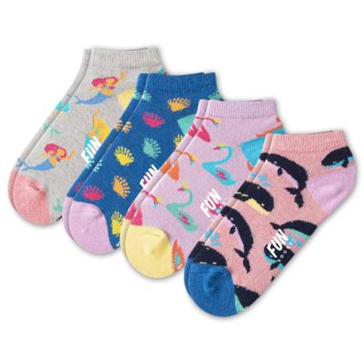 Fun Socks Fun Socks 4PK Girl's No Show