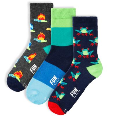 Fun Socks Fun Socks 3PK Frog Crew