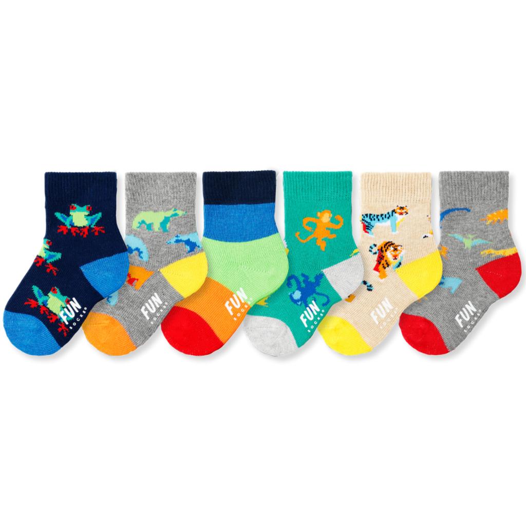 Fun Socks Fun Socks Infant Explorer Crew 6PK (Shoe Size 3-7)