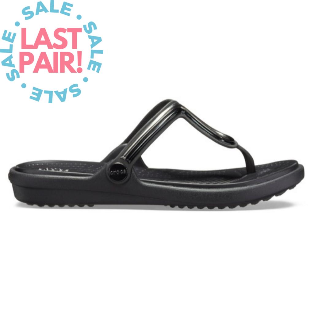 Crocs Crocs Sanrah MetalBlock Flat Flip Multi Black/Black