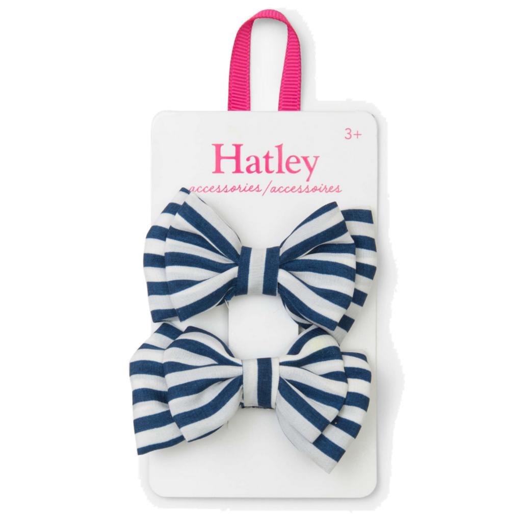 Hatley Hatley Navy Stripe Bows Hair Clips